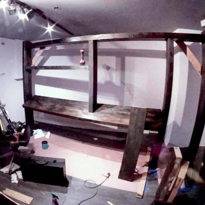 built a massive studio shelf