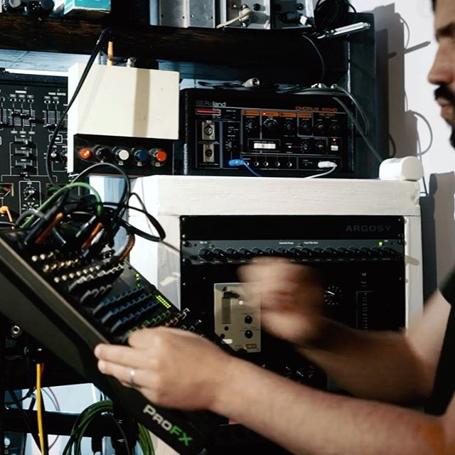 Tr-808 with Space echo, phaser, mixing desk and me in the newly wired dub-mix corner